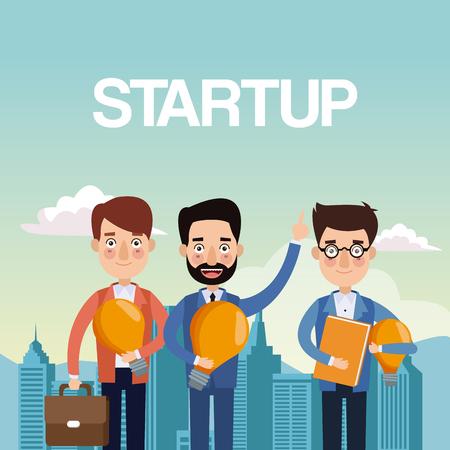 metropolitan: city landscape background teamwork businessmen with light bulb and portfolio star up vector illustration