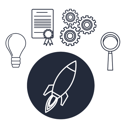 price development: White background with silhouette rocket star up with icons creative business vector illustration