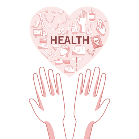 White background with red color sections of silhouette hands holding a floating heart shape with elements health vector illustration