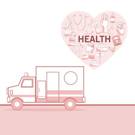 a snake in a bag: White background with red color sections of silhouette ambulance car and heart shape with elements health vector illustration