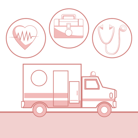 White background with red color sections of silhouette ambulance car and icons health in circular frame vector illustration