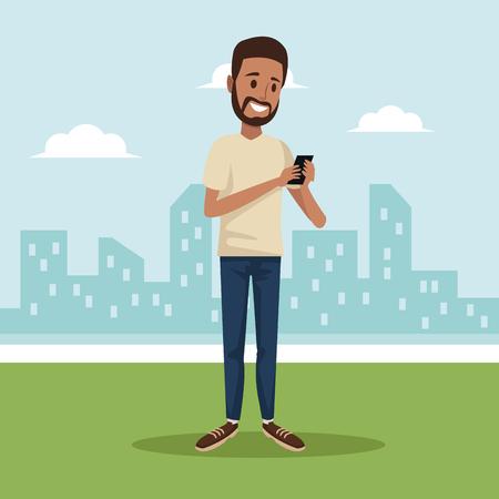 city landscape background with brunette bearded man social network communication vector illustration