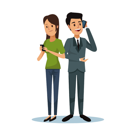 white background with woman and formal suit man social network communication vector illustration