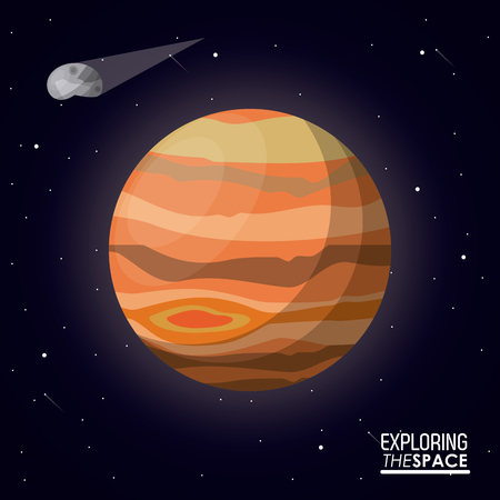 A colorful poster exploring the space with planet jupiter and asteroid vector illustration.