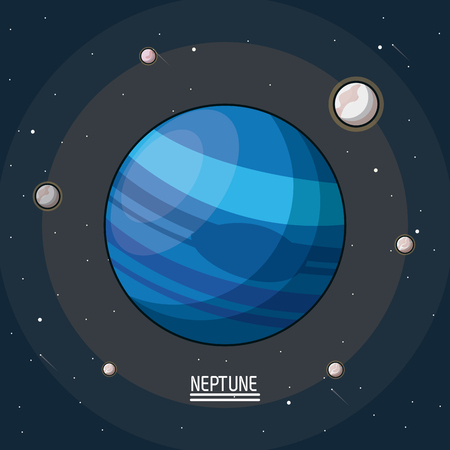 colorful poster of the planet neptune in the space with satellites around vector illustration