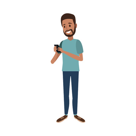 bearded man using smartphone chating vector illustration
