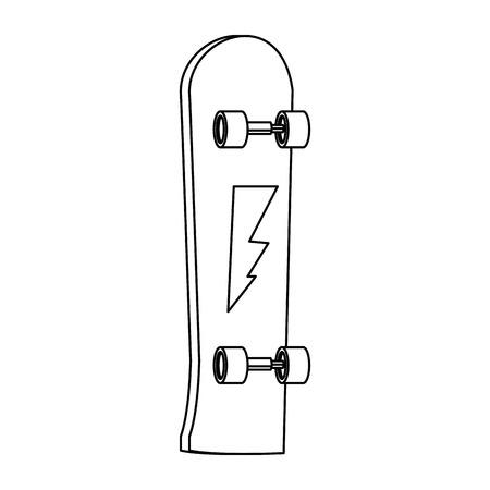 skate board extrem sport equipment wheel wooden vector illustration