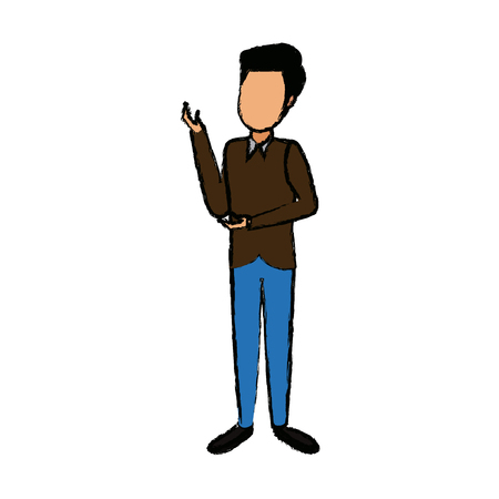 Standing young man wearing casual clothes, cartoon vector illustration