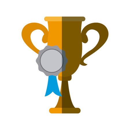 Trophy and rosette award, success honor icon vector illustration