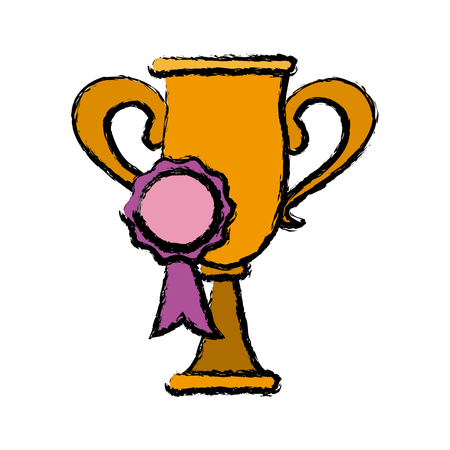 triumphant: Trophy and rosette award, success honor icon vector illustration
