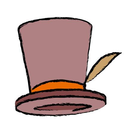 Top hat, elegant accessory fashion vector illustration