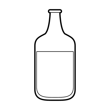 Flat line uncolored bottle over white background vector illustration