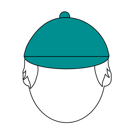 hint: Flat line man head and hat with a hint of color over white background