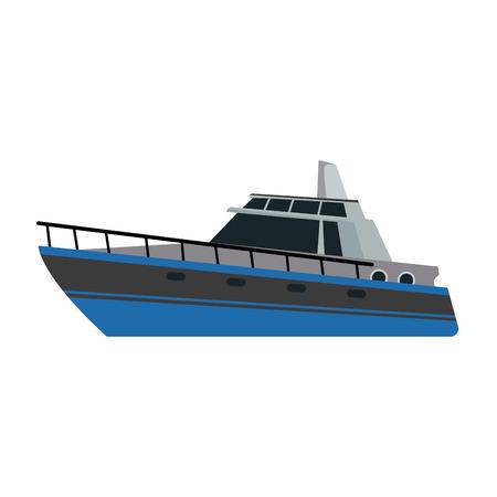 Boot Touristenyacht zu reisen mit dem Seetransport Vektor-Illustration Standard-Bild - 82186177