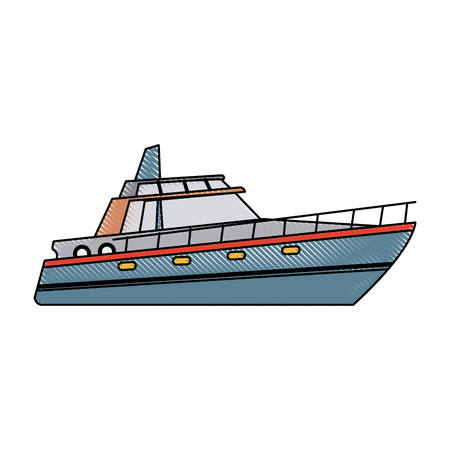 Boot Tourist Yacht zu reisen mit Seetransport Vektor-Illustration Standard-Bild - 82186625