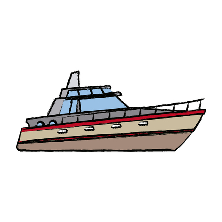 Boot Touristenyacht zu reisen mit dem Seetransport Vektor-Illustration Standard-Bild - 82186845