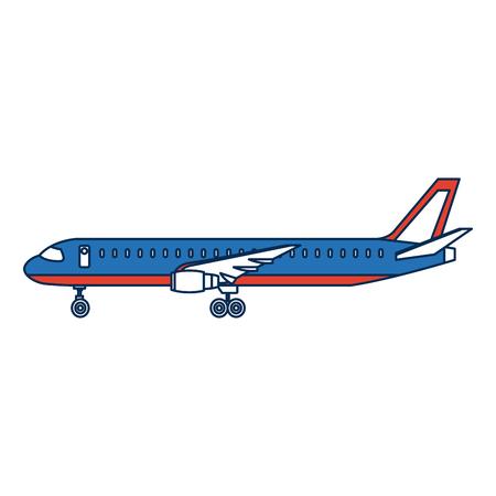 airplane side view travel passenger commercial vector illustration Illustration