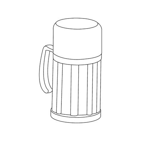thermo flask bottle beverage handle object vector illustration Illustration