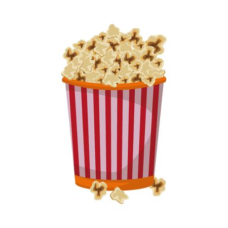 pop corn: cinema cardboard striped popcorn snack bucket vector illustration Illustration
