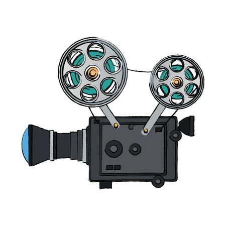 hoge gedetailleerde vintage film projector bioscoop pictogram vector illustratie