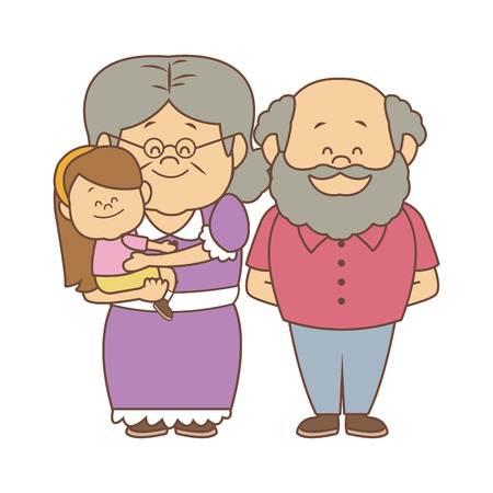 happy grandparents standing with their granddaughter vector illustration Ilustrace