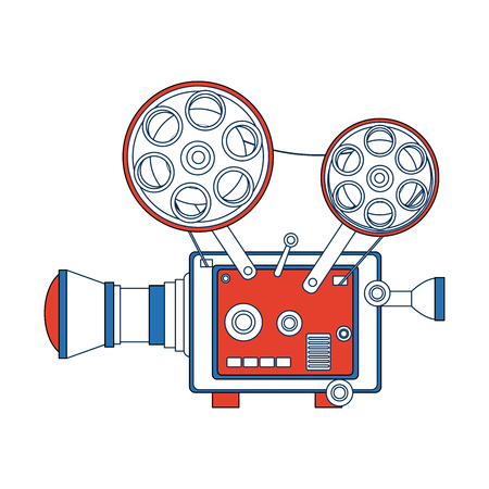 Hoge gedetailleerde vintage film projector bioscoop pictogram vector illustratie Stockfoto - 82189380