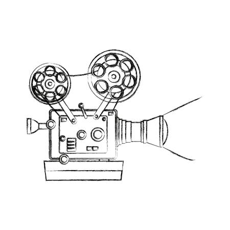 Hoge gedetailleerde vintage film projector bioscoop pictogram vector illustratie Stockfoto - 82189437