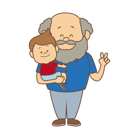 만화 행복 할아버지와 그의 손자 벡터 일러스트 레이 션 흰색 배경에 일러스트