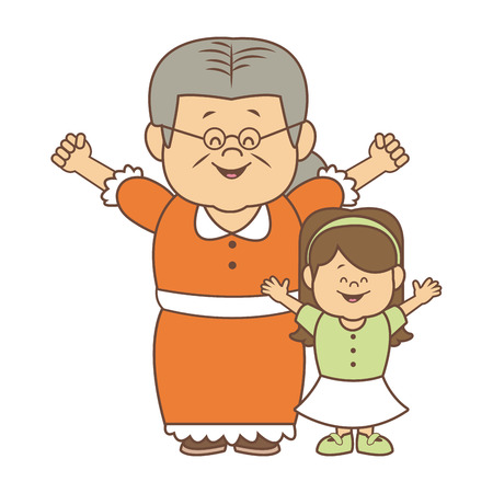 little girl and grandmother together family vector illustration