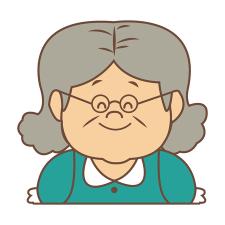 portrait of lovely grandmother old woman happy vector illustration
