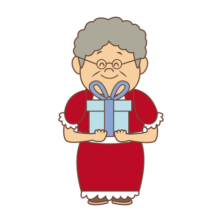 old fashioned: portrait of lovely grandmother old woman happy vector illustration