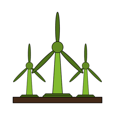 Wind turbines over white background vector illustration
