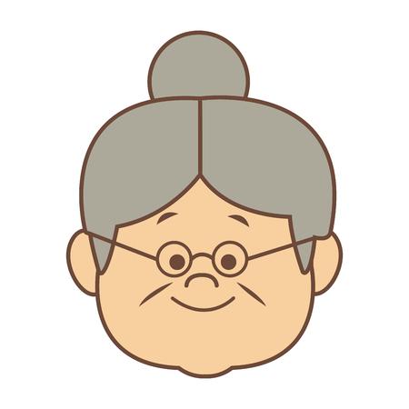 素敵なおばあさん老婆幸せベクトル図の肖像画