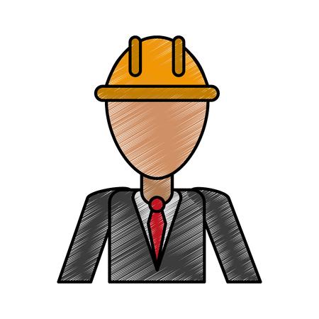 Engineer man avatar doodle over white background vector illustration