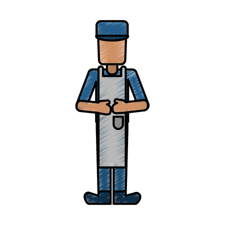 Male chef doodle over white background vector illustration