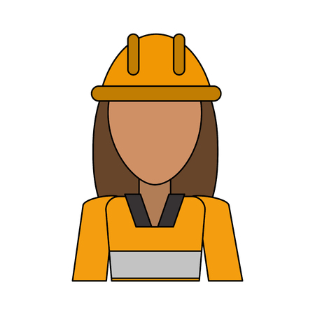 Constructor woman avatar over white background vector illustration