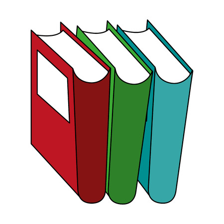 colorful books over white background vector illustration