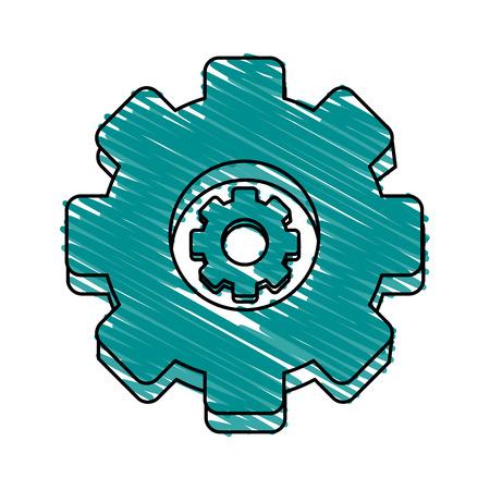 gear wheel doodle over white background vector illustration