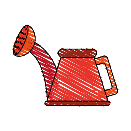 Colorful watering can doodle over white background vector illustration