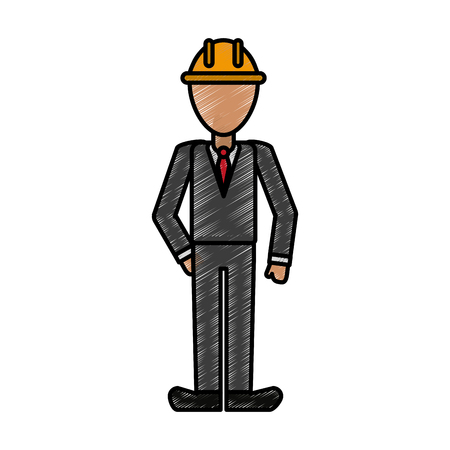 Engineer man doodle over white background vector illustration