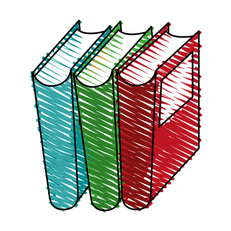 colorful books doodle over white background vector illustration