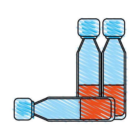 Medication vial doodle over white background vector illustration