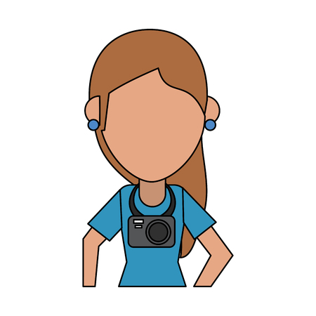 Woman tourist with over white background vector illustration Illustration