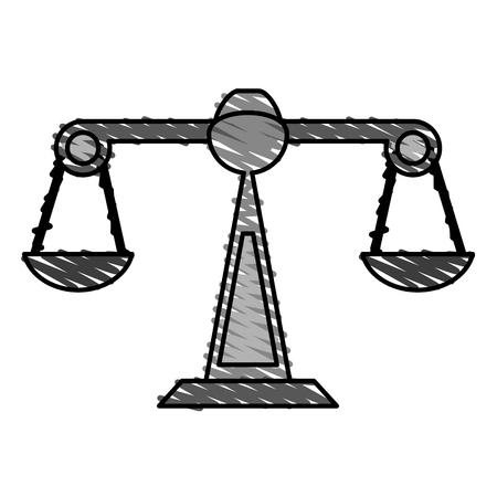 白い背景のベクトル図をバランス スケール落書き  イラスト・ベクター素材