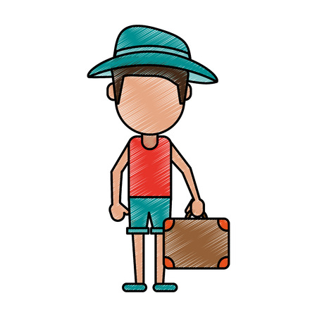 doodle, coloring,Man tourist with suitcase doodle over white background vector illustration