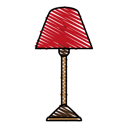 Standing lamp doodle over white background vector illustration
