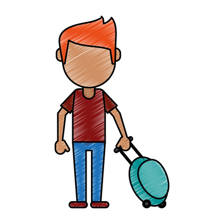 Man tourist with suitcase doodle over white background vector illustration