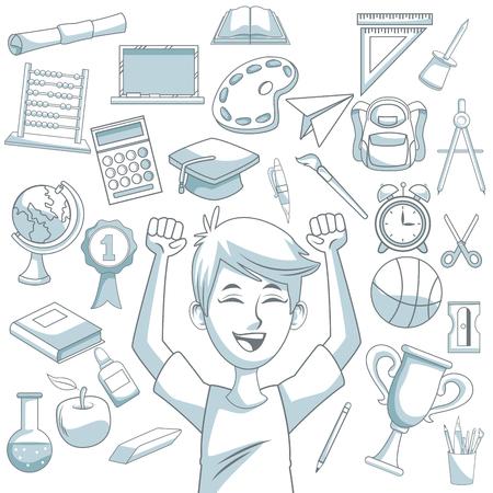 compas de dibujo: fondo blanco con sombreado de silueta de color de conjunto de elementos de la escuela y la ilustración de vector de estudiante Vectores