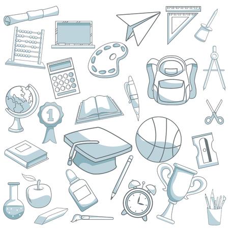 compas de dibujo: fondo blanco con sombreado de silueta de color de la ilustración de vector de conjunto de elementos de escuela Vectores
