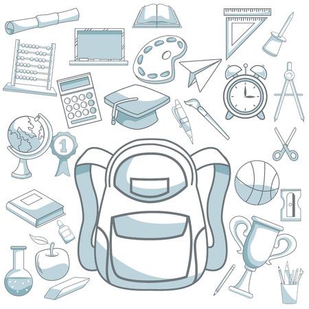 compas de dibujo: fondo blanco con sombreado de silueta de color de maletín y establecer ilustración vectorial elementos de la escuela